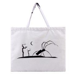 Dark Scene Silhouette Style Graphic Illustration Zipper Large Tote Bag