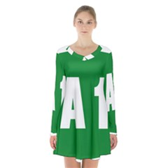 Autostrada A1 Long Sleeve Velvet V-neck Dress