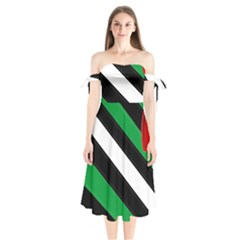 Boi Shoulder Tie Bardot Midi Dress