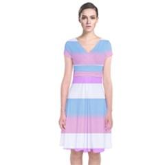 Bigender Short Sleeve Front Wrap Dress