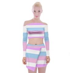 Bigender Off Shoulder Top with Skirt Set