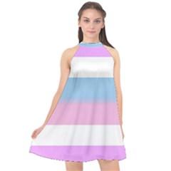 Bigender Halter Neckline Chiffon Dress