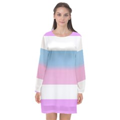 Bigender Long Sleeve Chiffon Shift Dress