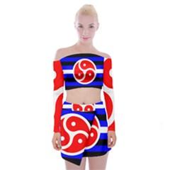 Bdsm Rights Off Shoulder Top with Skirt Set