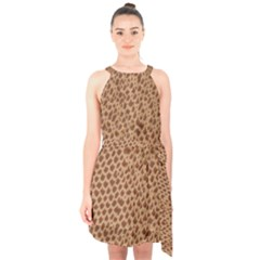 Giraffe Pattern Animal Print Halter Collar Waist Tie Chiffon Dress