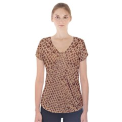 Giraffe pattern animal print  Short Sleeve Front Detail Top