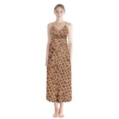 Giraffe Pattern Animal Print  Button Up Chiffon Maxi Dress