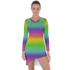 Metallic Rainbow Glitter Texture Asymmetric Cut Out Shift Dress