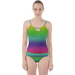 Metallic Rainbow Glitter Texture Cut Out Top Tankini Set