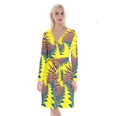 Hot Hot Summer C Long Sleeve Velvet Front Wrap Dress