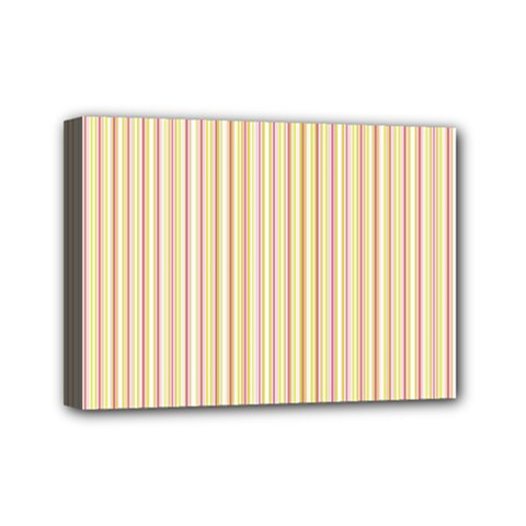 Stripes Pink and Green  line pattern Mini Canvas 7  x 5