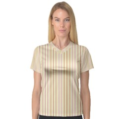 Stripes Pink and Green  line pattern V-Neck Sport Mesh Tee
