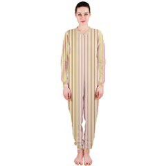 Stripes Pink and Green  line pattern OnePiece Jumpsuit (Ladies)
