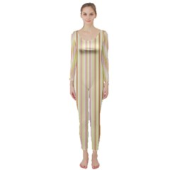 Stripes Pink and Green  line pattern Long Sleeve Catsuit
