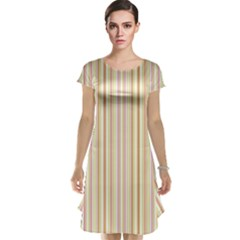 Stripes Pink And Green  Line Pattern Cap Sleeve Nightdress