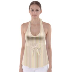 Stripes Pink and Green  line pattern Babydoll Tankini Top