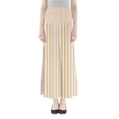 Stripes Pink and Green  line pattern Full Length Maxi Skirt
