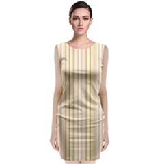 Stripes Pink and Green  line pattern Classic Sleeveless Midi Dress