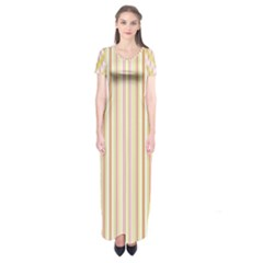 Stripes Pink and Green  line pattern Short Sleeve Maxi Dress