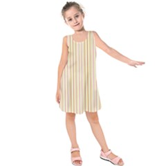 Stripes Pink and Green  line pattern Kids  Sleeveless Dress