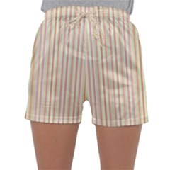 Stripes Pink And Green  Line Pattern Sleepwear Shorts
