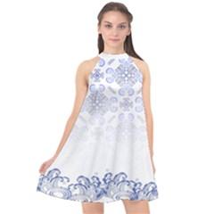 Steel Blue Waves & Paisley Pattern Halter Neckline Chiffon Dress