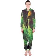 A Seaweed s DeepDream of Faded Fractal Fall Colors Hooded Jumpsuit (Ladies)