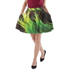 A Seaweed s DeepDream of Faded Fractal Fall Colors A-Line Pocket Skirt