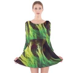 A Seaweed s DeepDream of Faded Fractal Fall Colors Long Sleeve Velvet Skater Dress