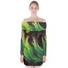 A Seaweed s DeepDream of Faded Fractal Fall Colors Long Sleeve Off Shoulder Dress