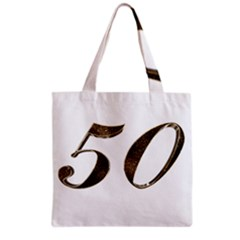 Number 50 Elegant Gold Glitter Look Typography 50th Anniversary Grocery Tote Bag
