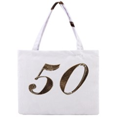 Number 50 Elegant Gold Glitter Look Typography 50th Anniversary Mini Tote Bag