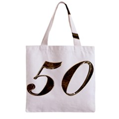 Number 50 Elegant Gold Glitter Look Typography 50th Anniversary Zipper Grocery Tote Bag