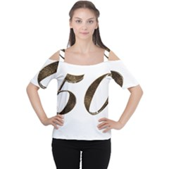 Number 50 Elegant Gold Glitter Look Typography 50th Anniversary Cutout Shoulder Tee