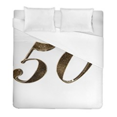 Number 50 Elegant Gold Glitter Look Typography 50th Anniversary Duvet Cover (Full/ Double Size)