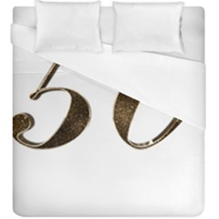 Number 50 Elegant Gold Glitter Look Typography 50th Anniversary Duvet Cover (King Size)