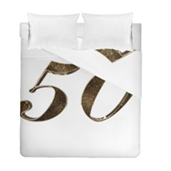 Number 50 Elegant Gold Glitter Look Typography 50th Anniversary Duvet Cover Double Side (full/ Double Size)