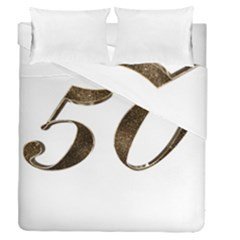 Number 50 Elegant Gold Glitter Look Typography 50th Anniversary Duvet Cover Double Side (queen Size)