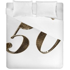 Number 50 Elegant Gold Glitter Look Typography 50th Anniversary Duvet Cover Double Side (california King Size)
