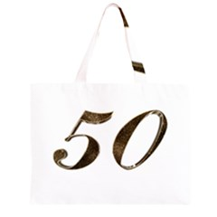 Number 50 Elegant Gold Glitter Look Typography 50th Anniversary Zipper Large Tote Bag