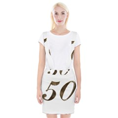 Number 50 Elegant Gold Glitter Look Typography 50th Anniversary Braces Suspender Skirt