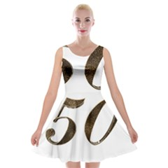 Number 50 Elegant Gold Glitter Look Typography 50th Anniversary Velvet Skater Dress
