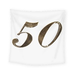 Number 50 Elegant Gold Glitter Look Typography 50th Anniversary Square Tapestry (Small)