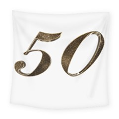 Number 50 Elegant Gold Glitter Look Typography 50th Anniversary Square Tapestry (large)