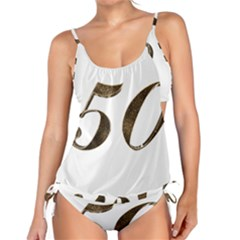 Number 50 Elegant Gold Glitter Look Typography 50th Anniversary Tankini Set