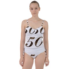Number 50 Elegant Gold Glitter Look Typography 50th Anniversary Sweetheart Tankini Set