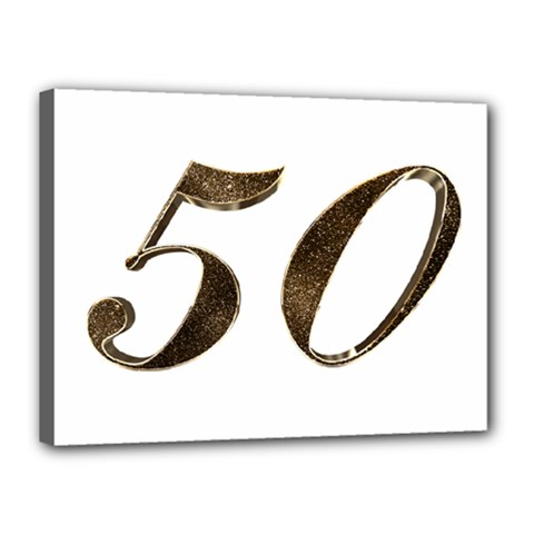 Number 50 Elegant Gold Glitter Look Typography Canvas 16  x 12