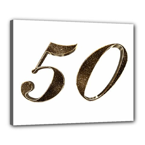 Number 50 Elegant Gold Glitter Look Typography Canvas 20  x 16