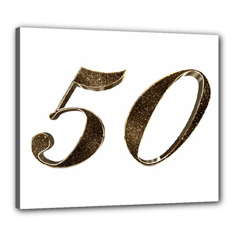 Number 50 Elegant Gold Glitter Look Typography Canvas 24  x 20
