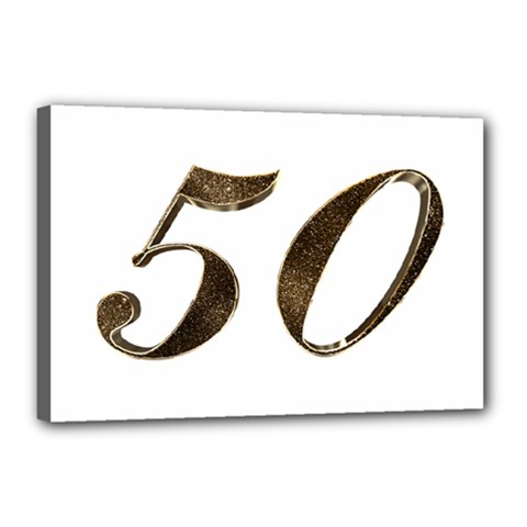 Number 50 Elegant Gold Glitter Look Typography Canvas 18  X 12